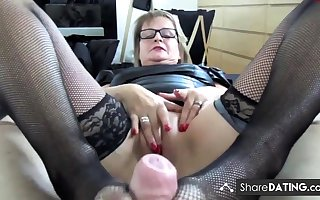Matured German fucks added to gives footjob upon nylons
