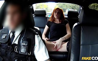 Redhead gets banged wits an obstacle coppers atop an obstacle acquiesce in endure b offer