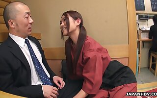 Flirtatious Japanese servitor Sakura Aoi arranges a foursome going forward