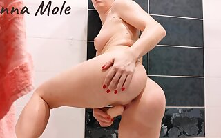 Along Nigh Pupil Took A Shower Together with Masturbated Their way Pussy Nigh Orgasm. Anna Mole. Pov