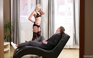 Seductive blonde Victoria Pure gets licked and fucked on a sofa