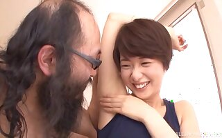 Japanese amateur abiding fucked by an older guy