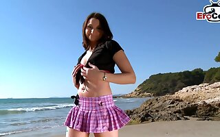 French amateur girl next way in strive outdoor beach casting